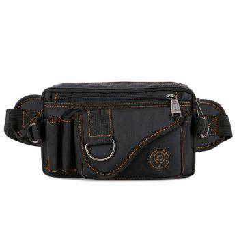 Stitching Multi Zips Metal Ring Fanny Pack