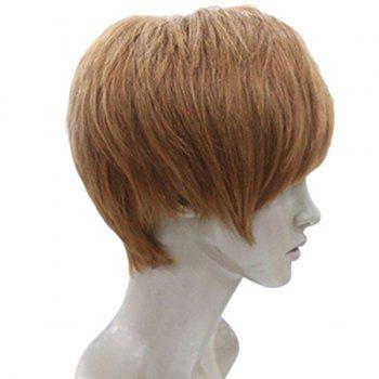 Short Layered Straight Human Hair Wig With Side Bang - AUBURN BROWN  AUBURN BROWN