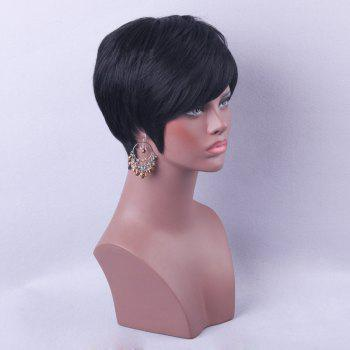 Short Side Bang Straight Real Human Hair Wig - 30CM 30CM