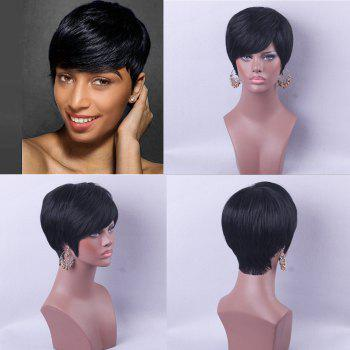 Short Side Bang Straight Real Human Hair Wig - BLACK 30CM