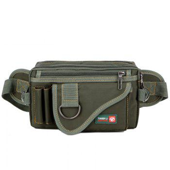 Stitching Multi Zips Metal Ring Fanny Pack - GREEN GREEN