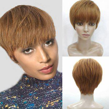 Full Bang Layered Short Straight Human Hair Wig - AUBURN BROWN #30 AUBURN BROWN