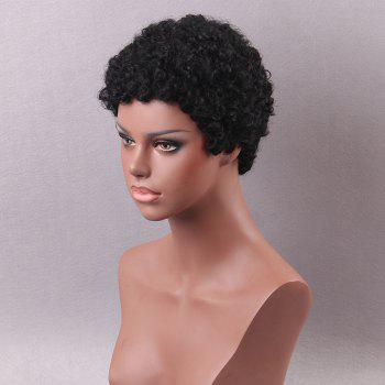 Short Inclined Bang Shaggy Afro Curls Pixie Human Hair Wigs - BLACK BLACK