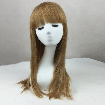 Long Neat Bang Straight Human Real Hair Wig - COLORMIX 60CM