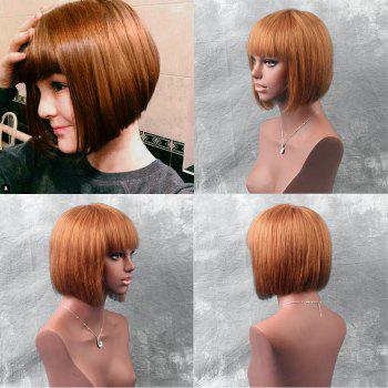 Full Bang Short Straight Blunt Bob Human Hair Wig - AUBURN BROWN #30 30CM