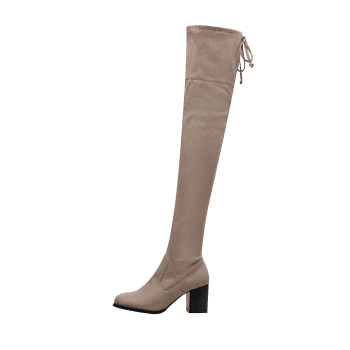 Pointed Toe Suede Over The Knee Boots - APRICOT 37