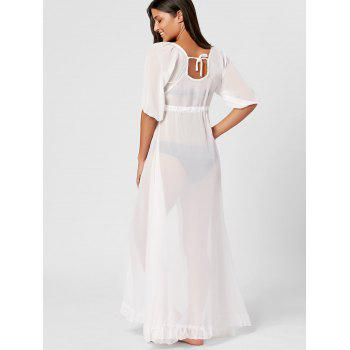 See Through Flowy Maxi Cover Up - WHITE ONE SIZE