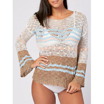 Flare Sleeve Crochet Cover Up Top - COLORMIX ONE SIZE