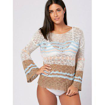 Flare Sleeve Crochet Cover Up Top - ONE SIZE ONE SIZE
