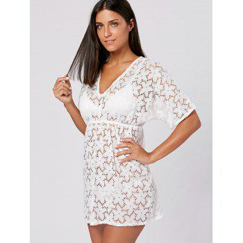 Lace Swimwear Cover Up Dress - WHITE ONE SIZE