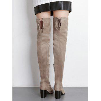Pointed Toe Suede Over The Knee Boots - APRICOT 40