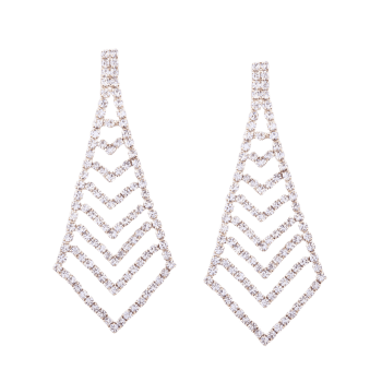 Rhinestone Geometric Sparkly Party Earrings - GOLDEN
