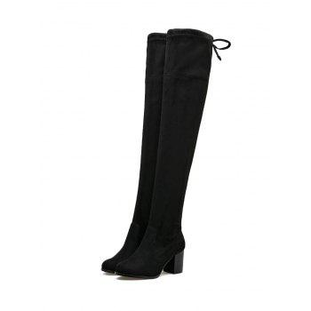 Pointed Toe Suede Over The Knee Boots - BLACK 37