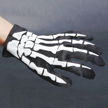 Halloween Party Cosplay Hand Bone Pattern Gloves - BLACK WHITE