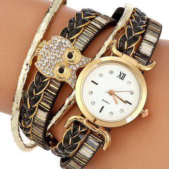 Owl Braided Bracelet Watch -  BLACK