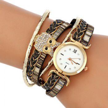 Owl Braided Bracelet Watch - BLACK BLACK