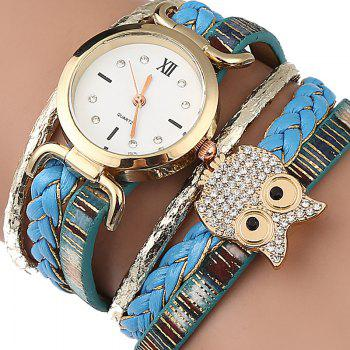 Owl Braided Bracelet Watch - AZURE