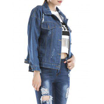 Beaded Embroidered Ripped Denim Jacket - BLUE XL