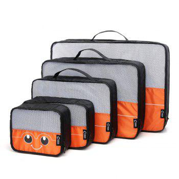 Mesh Insert 5 Pieces Travel Storage Bags and 2 Drawstring Bags - ORANGE HORIZONTAL