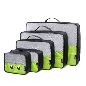 Mesh Insert 5 Pieces Travel Storage Bags and 2 Drawstring Bags - GREEN GREEN