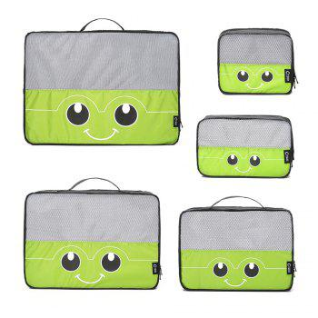 Mesh Insert 5 Pieces Travel Storage Bags and 2 Drawstring Bags - GREEN HORIZONTAL