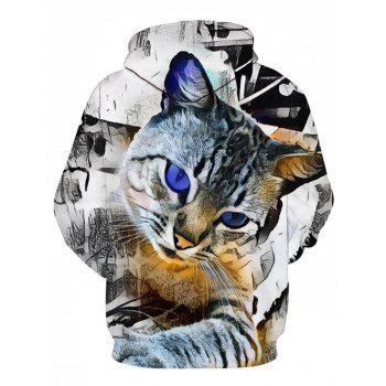 Pocket 3D Cat Print Pullover Hoodie - COLORMIX L