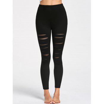 High Waist Ripped Leggings - BLACK 2XL