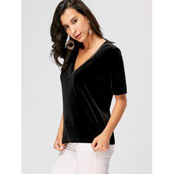 V-neck Velvet T-shirt - Noir 2XL