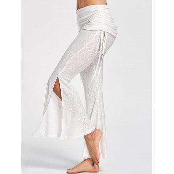 Foldover Floral Slit Flare Pants - OFF-WHITE OFF WHITE