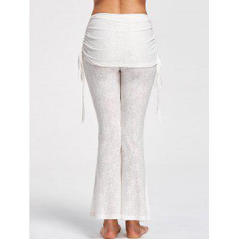 Foldover Floral Slit Flare Pants - OFF WHITE OFF WHITE