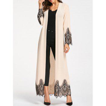 Eyelash Lace Trim Longline Cardigan