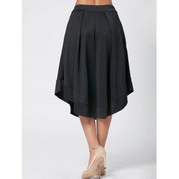 High Waist Midi Flared Skirt - BLACK BLACK