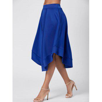 High Waist Midi Flared Skirt - BLUE BLUE