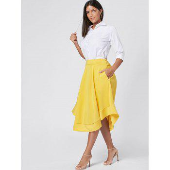 High Waist Midi Flared Skirt - YELLOW YELLOW