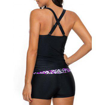 Printed Cross Back Tankini Set - LIGHT PURPLE L
