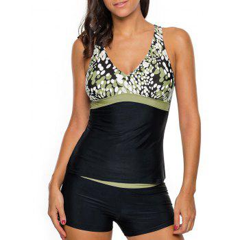 Printed Cross Back Tankini Set - GREEN GREEN
