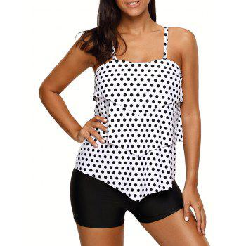 Tiered Polka Dot Tankini Set - WHITE WHITE