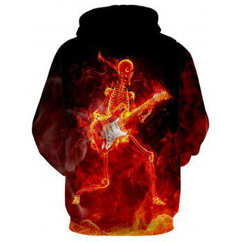Skeleton with Guitar Halloween Pullover Hoodie - COLORMIX L