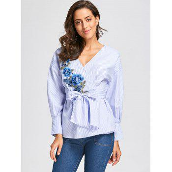 Embroidery Wrap Blouse with Tie Belt - BLUE STRIPE 2XL