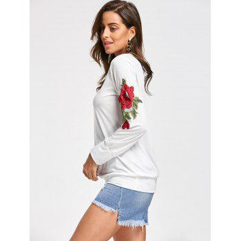 Embroidery Applique Sweatshirt - OFF WHITE M