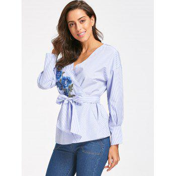 Embroidery Wrap Blouse with Tie Belt - BLUE STRIPE M