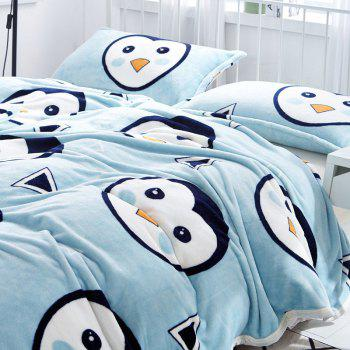 Penguins Print Soft Throw Blanket - CLOUDY EURO KING