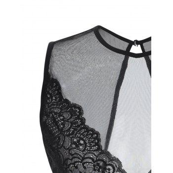 Backless See Through Babydoll - Noir ONE SIZE