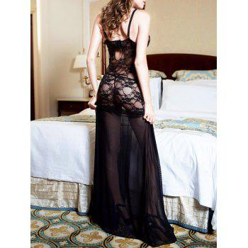 High Slit Lace Long Sheer Slip Dress - BLACK BLACK