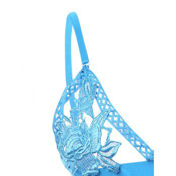 Ensemble de soutien-gorge floral applicatif - Bleu ONE SIZE