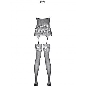 Halter Fishnet Cut Out Garter Bodystockings - BLACK ONE SIZE