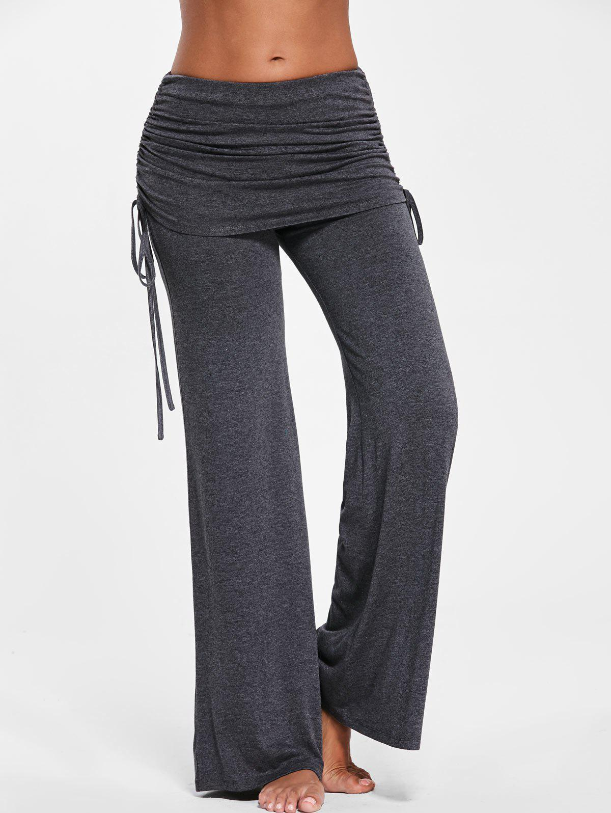 Ruched Wide Leg Skirted Pants - DEEP GRAY M