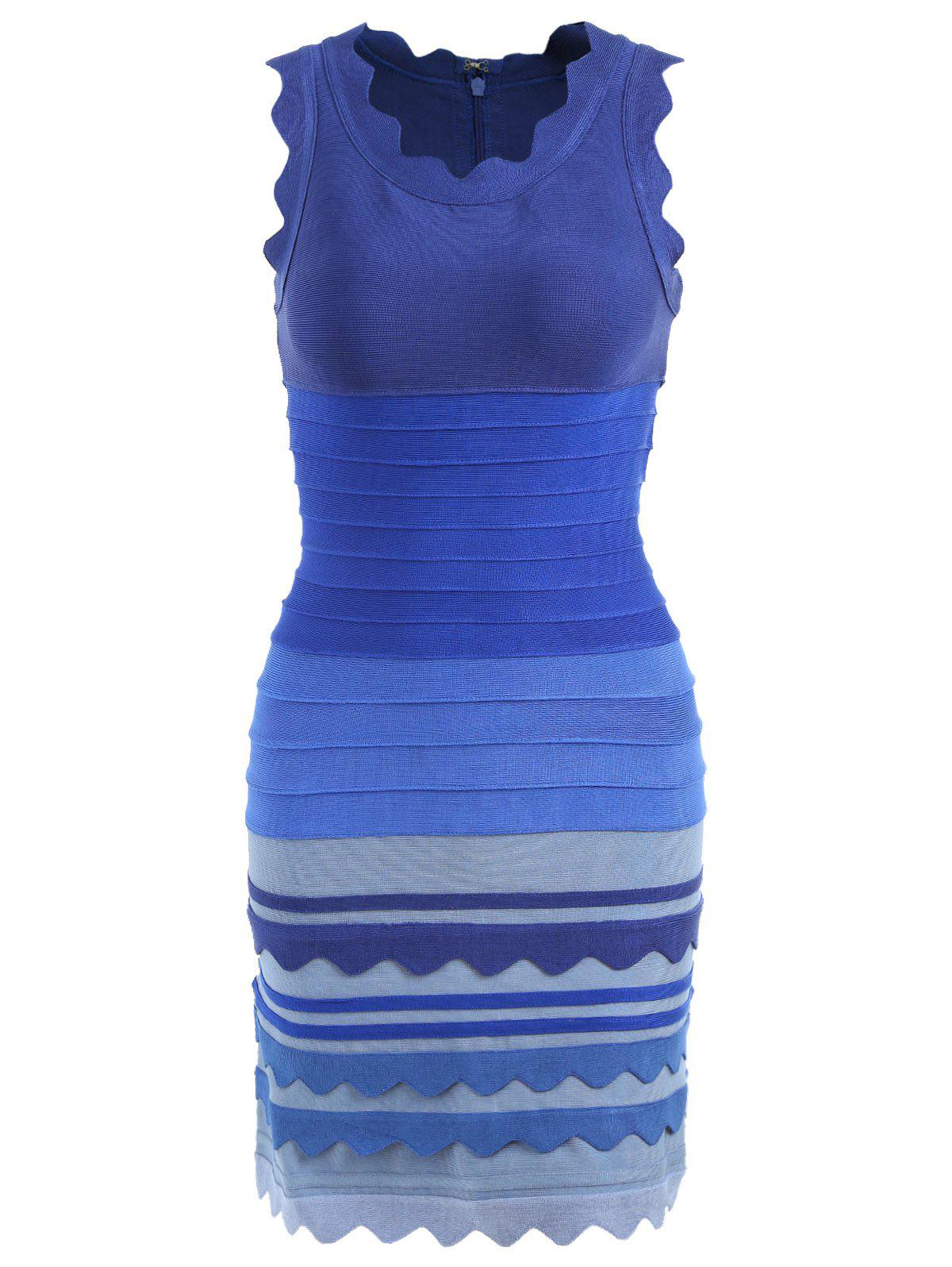 Night Out Ombre Color Bandage Dress - BLUE XL