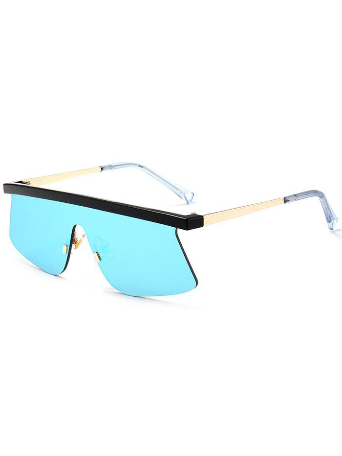 Semi Rimless Mirror Shield Sunglasses - ICE BLUE