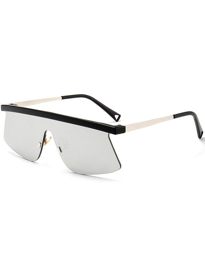 Semi Rimless Mirror Shield Sunglasses - SILVER